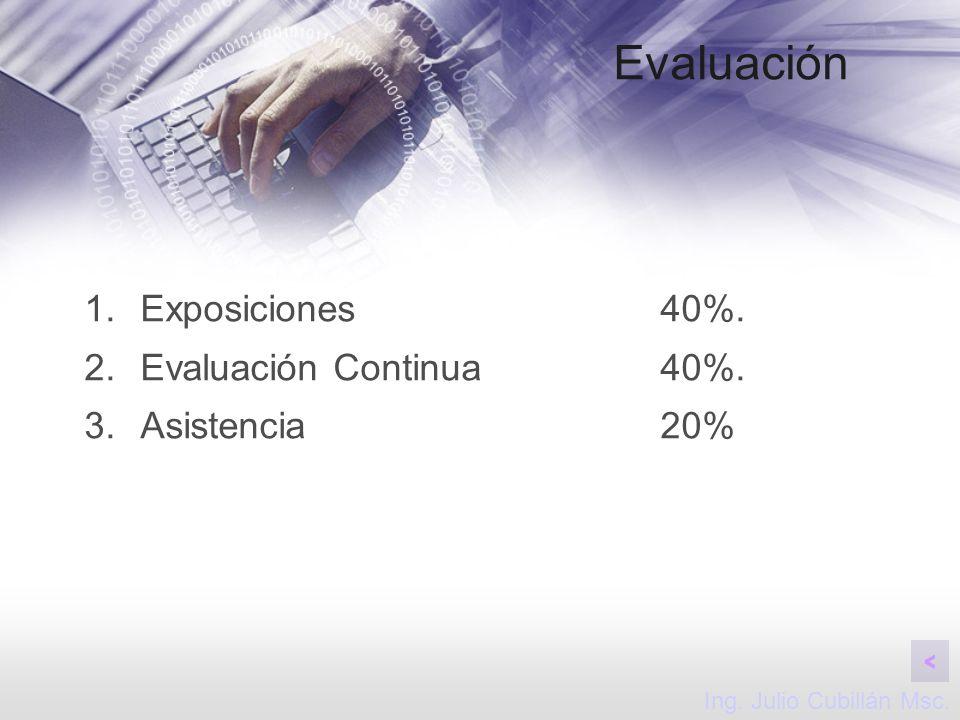 Evaluación Exposiciones 40%. Evaluación Continua 40%. Asistencia 20%