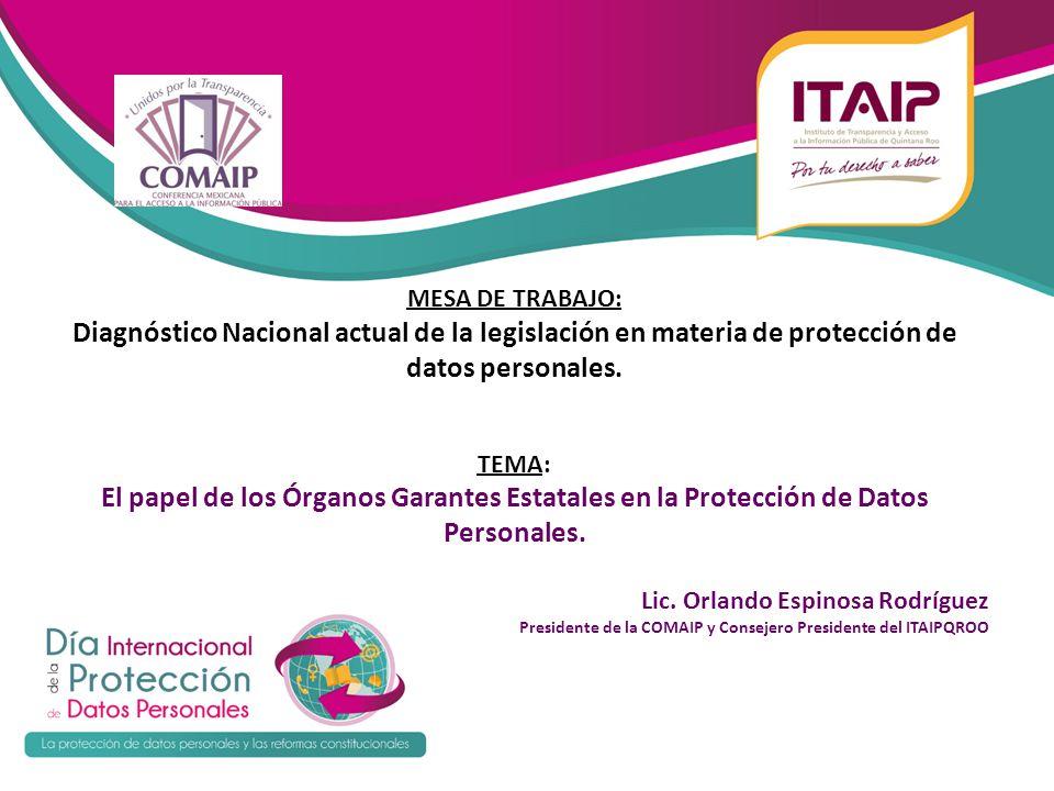 MESA DE TRABAJO: Diagnóstico Nacional actual de la legislación en materia de protección de datos personales.