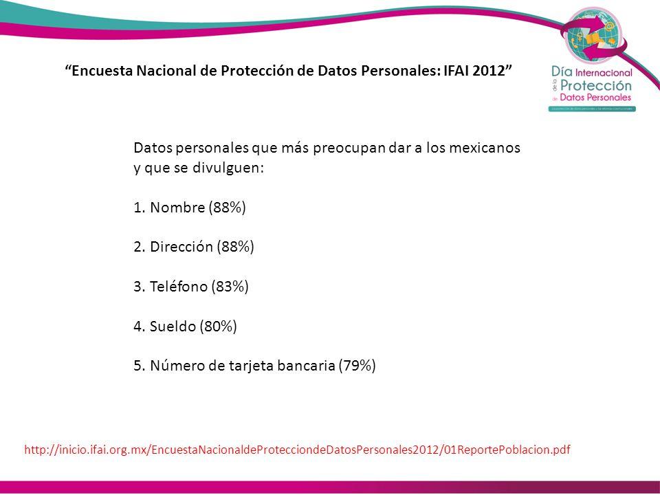 Encuesta Nacional de Protección de Datos Personales: IFAI 2012