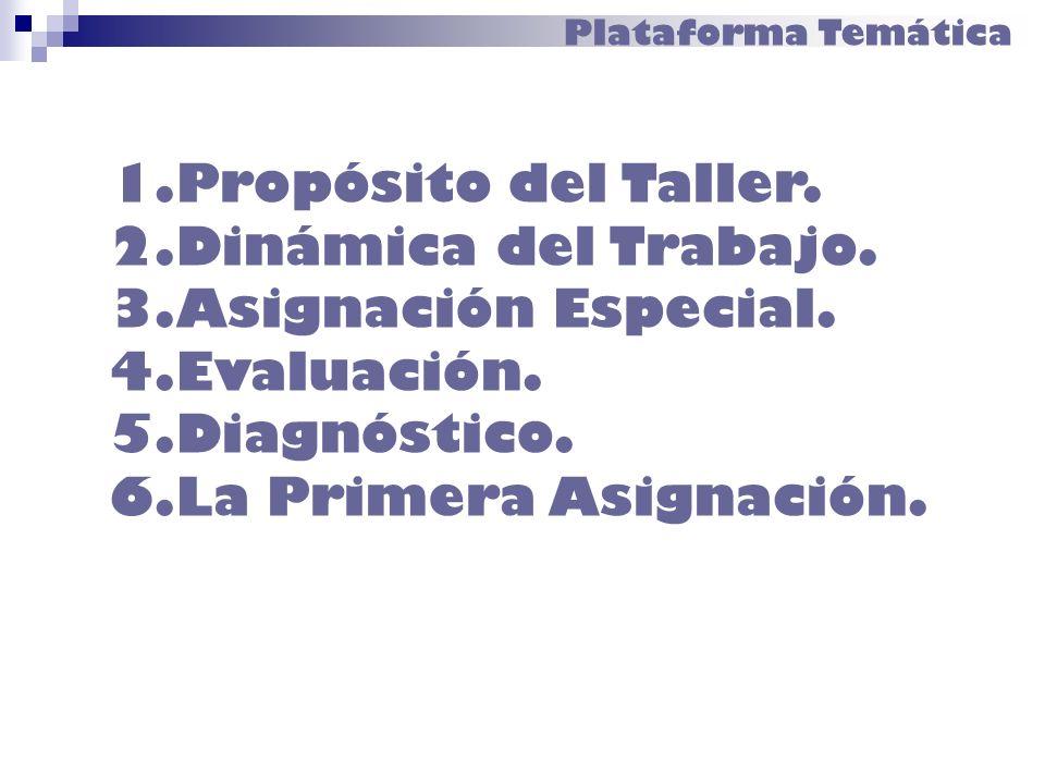 Propósito del Taller. Dinámica del Trabajo. Asignación Especial.