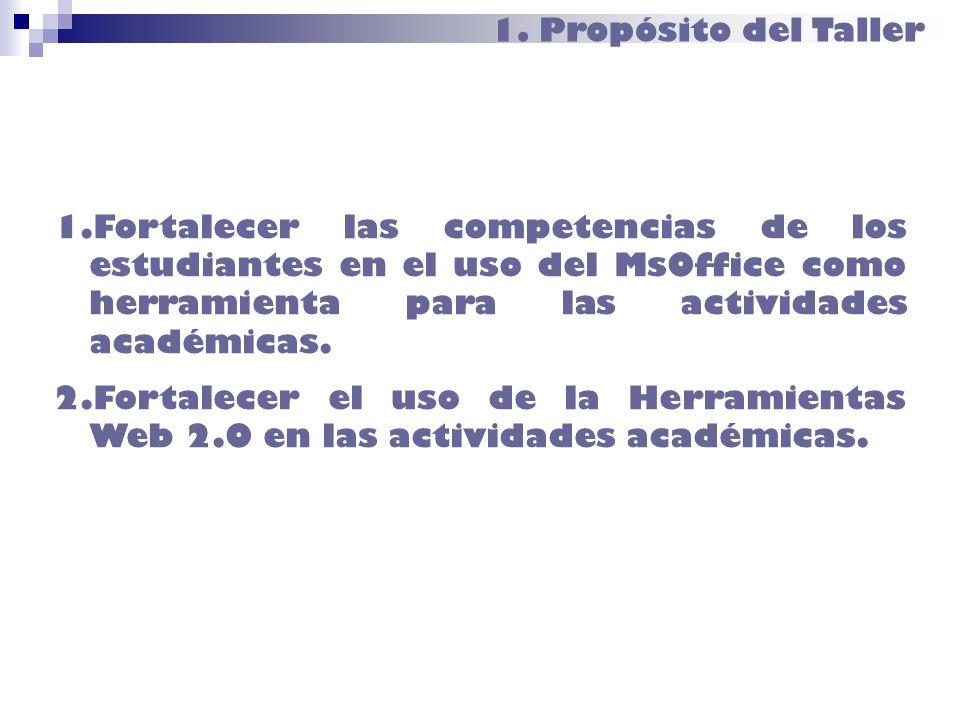 1. Propósito del Taller Fortalecer las competencias de los estudiantes en el uso del MsOffice como herramienta para las actividades académicas.