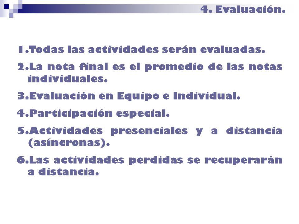 4. Evaluación.Todas las actividades serán evaluadas. La nota final es el promedio de las notas individuales.
