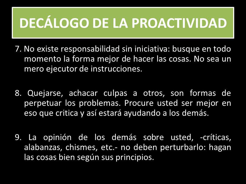 DECÁLOGO DE LA PROACTIVIDAD