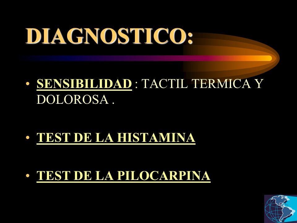 DIAGNOSTICO: SENSIBILIDAD : TACTIL TERMICA Y DOLOROSA .
