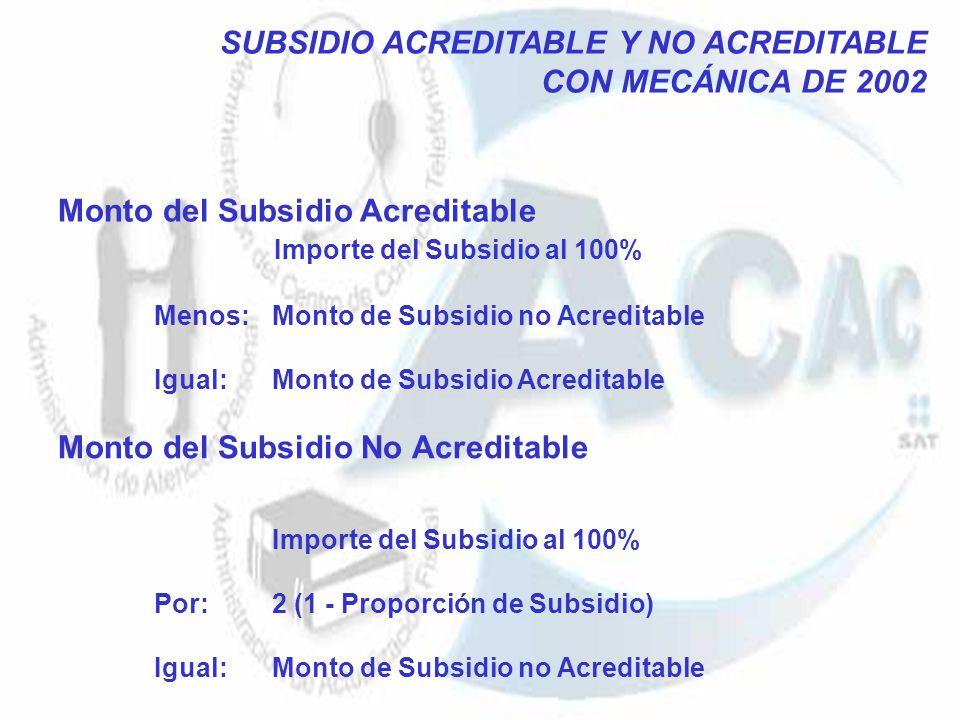 SUBSIDIO ACREDITABLE Y NO ACREDITABLE CON MECÁNICA DE 2002