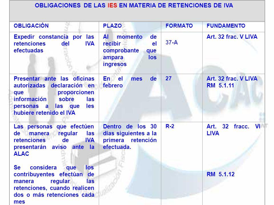 OBLIGACIONES DE LAS IES EN MATERIA DE RETENCIONES DE IVA
