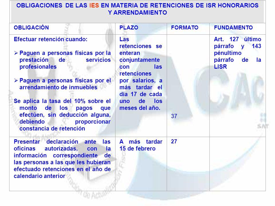 OBLIGACIONES DE LAS IES EN MATERIA DE RETENCIONES DE ISR HONORARIOS Y ARRENDAMIENTO