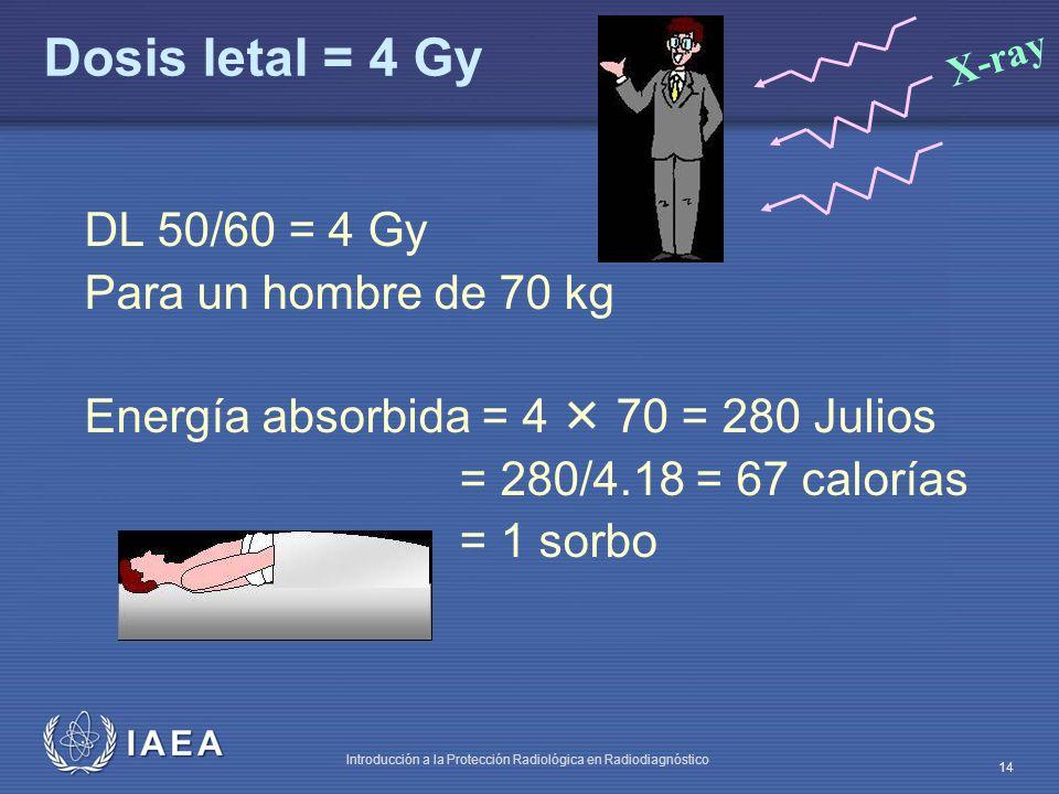 Dosis letal = 4 Gy DL 50/60 = 4 Gy Para un hombre de 70 kg