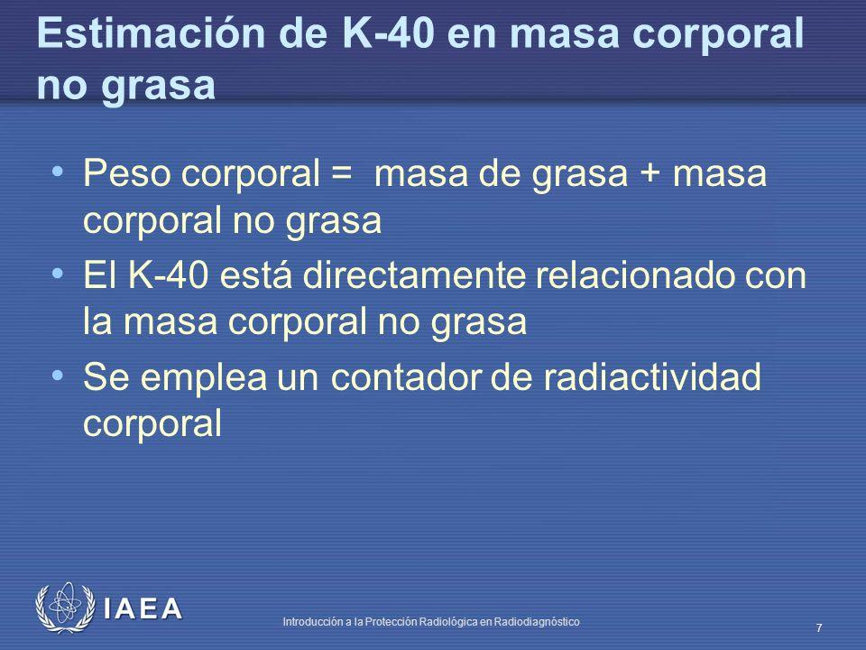 Estimación de K-40 en masa corporal no grasa