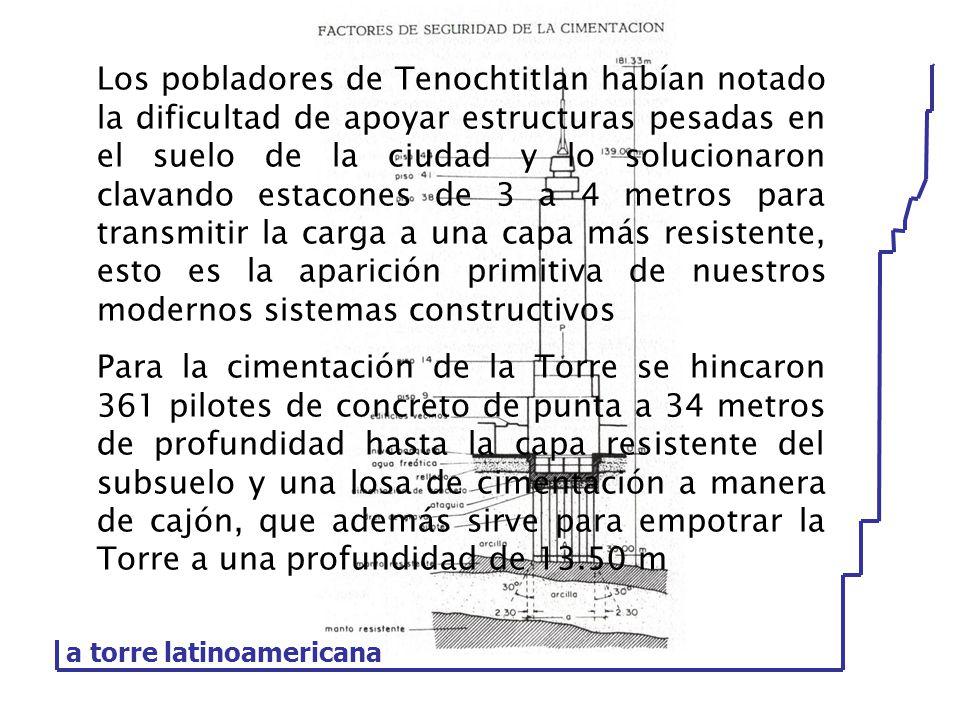 Los pobladores de Tenochtitlan habían notado la dificultad de apoyar estructuras pesadas en el suelo de la ciudad y lo solucionaron clavando estacones de 3 a 4 metros para transmitir la carga a una capa más resistente, esto es la aparición primitiva de nuestros modernos sistemas constructivos