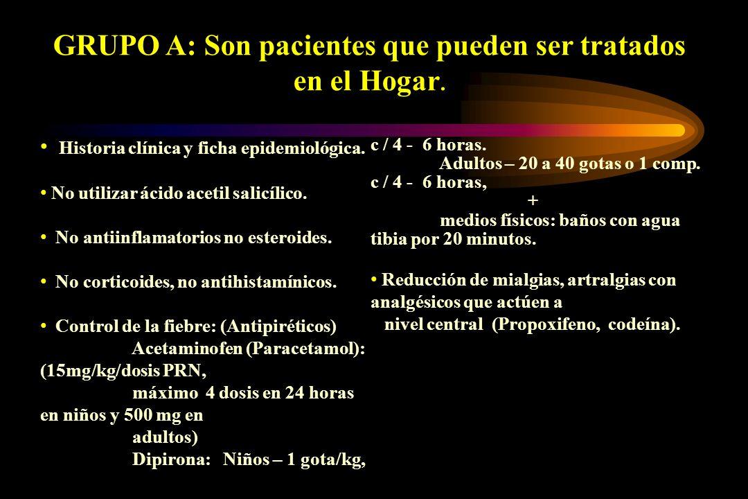 GRUPO A: Son pacientes que pueden ser tratados en el Hogar.