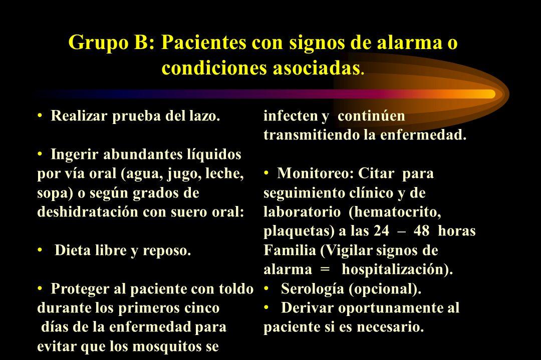 Grupo B: Pacientes con signos de alarma o condiciones asociadas.