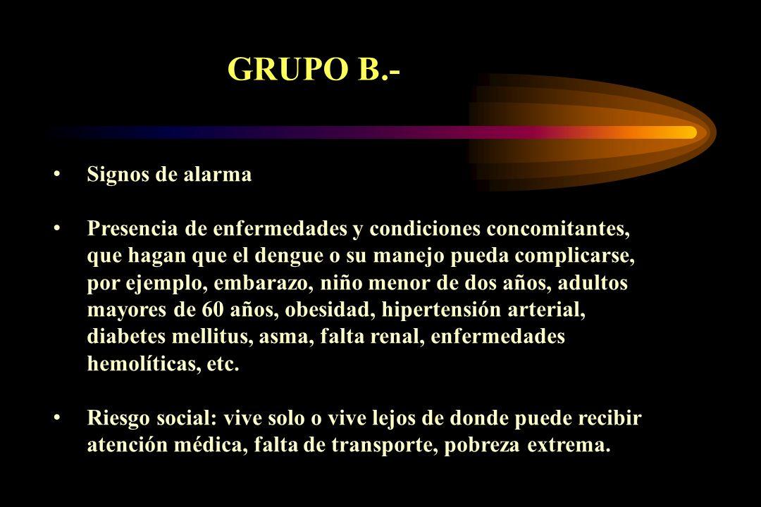 GRUPO B.- Signos de alarma