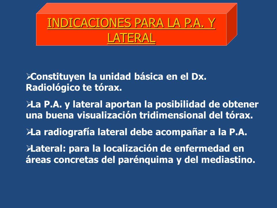 INDICACIONES PARA LA P.A. Y LATERAL