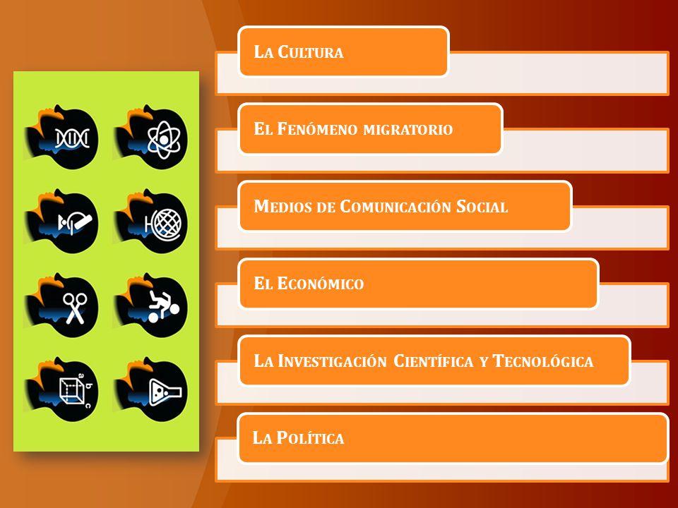 La Cultura El Fenómeno migratorio. Medios de Comunicación Social. El Económico. La Investigación Científica y Tecnológica.