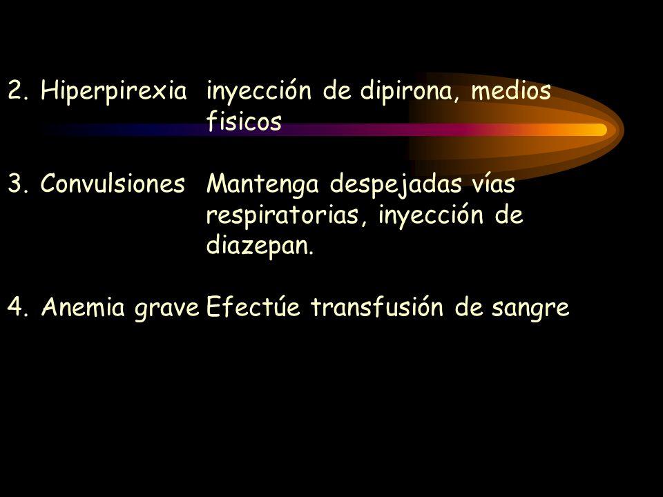 Hiperpirexia inyección de dipirona, medios fisicos