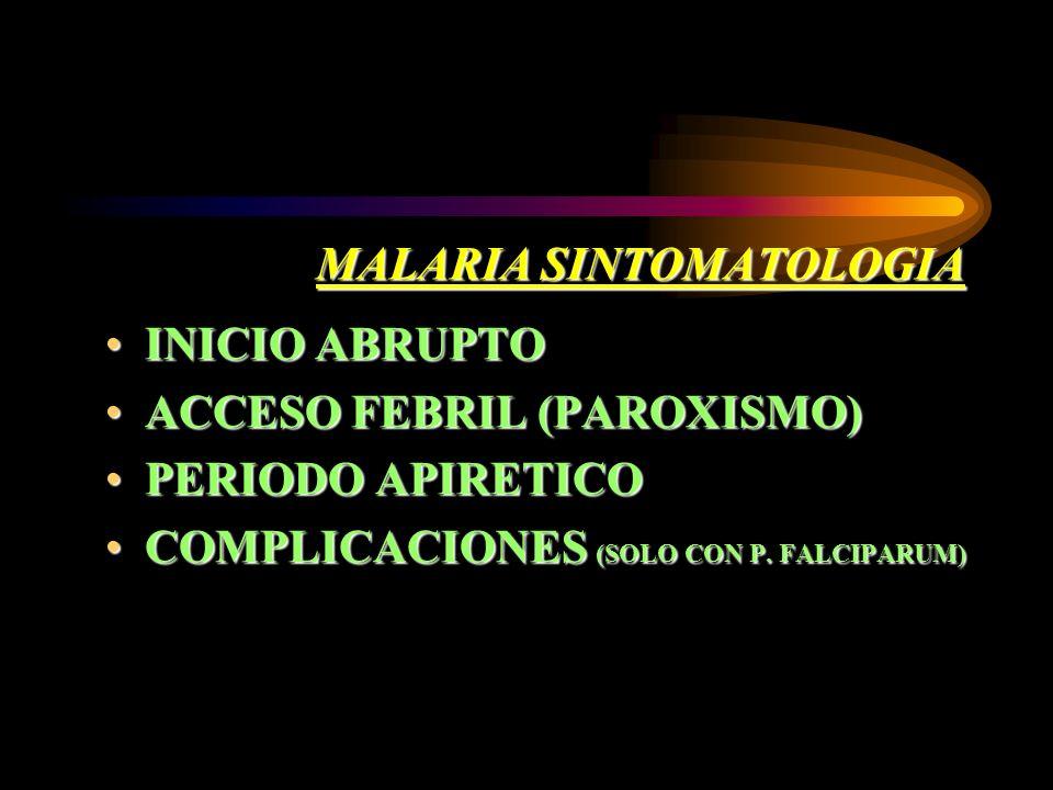 MALARIA SINTOMATOLOGIA