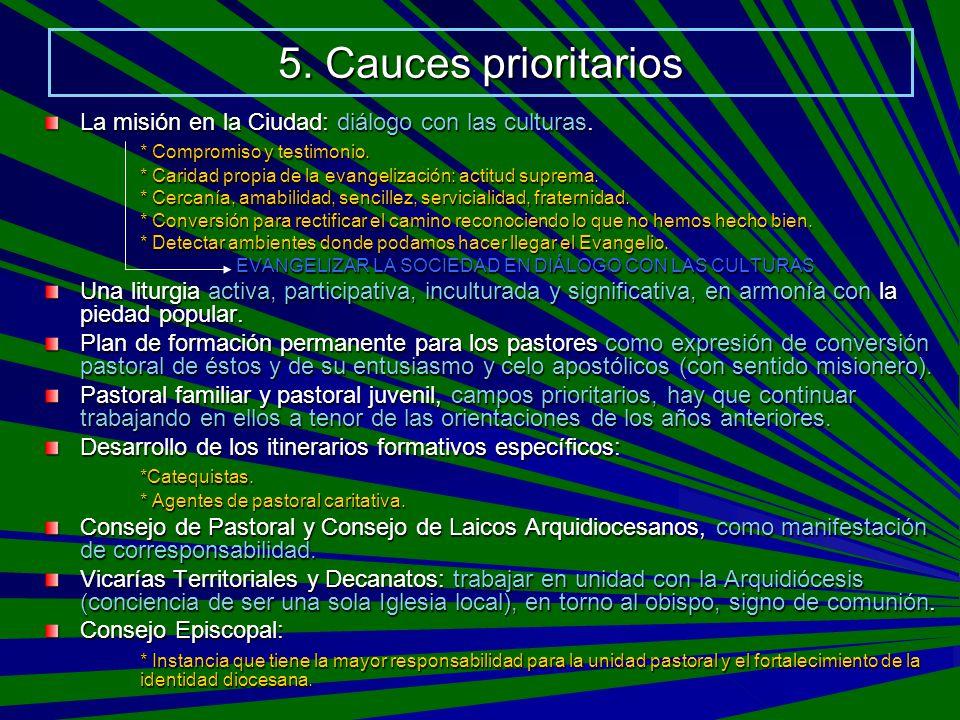 5. Cauces prioritarios La misión en la Ciudad: diálogo con las culturas. * Compromiso y testimonio.
