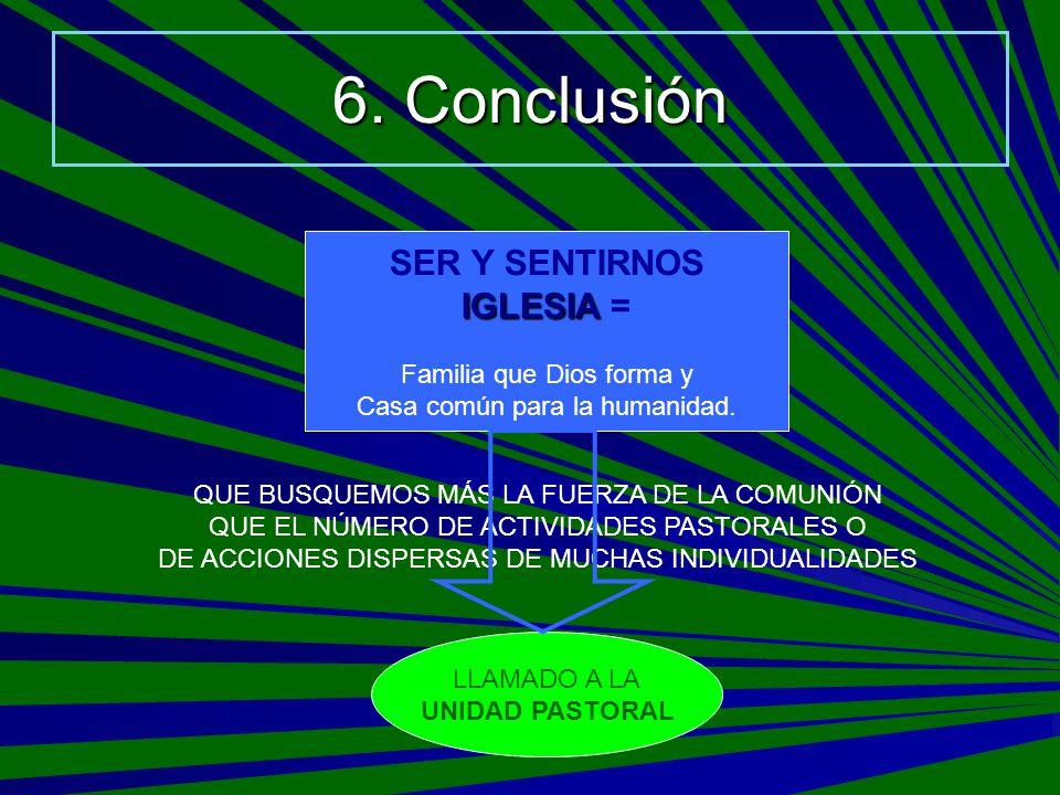 6. Conclusión SER Y SENTIRNOS IGLESIA = Familia que Dios forma y
