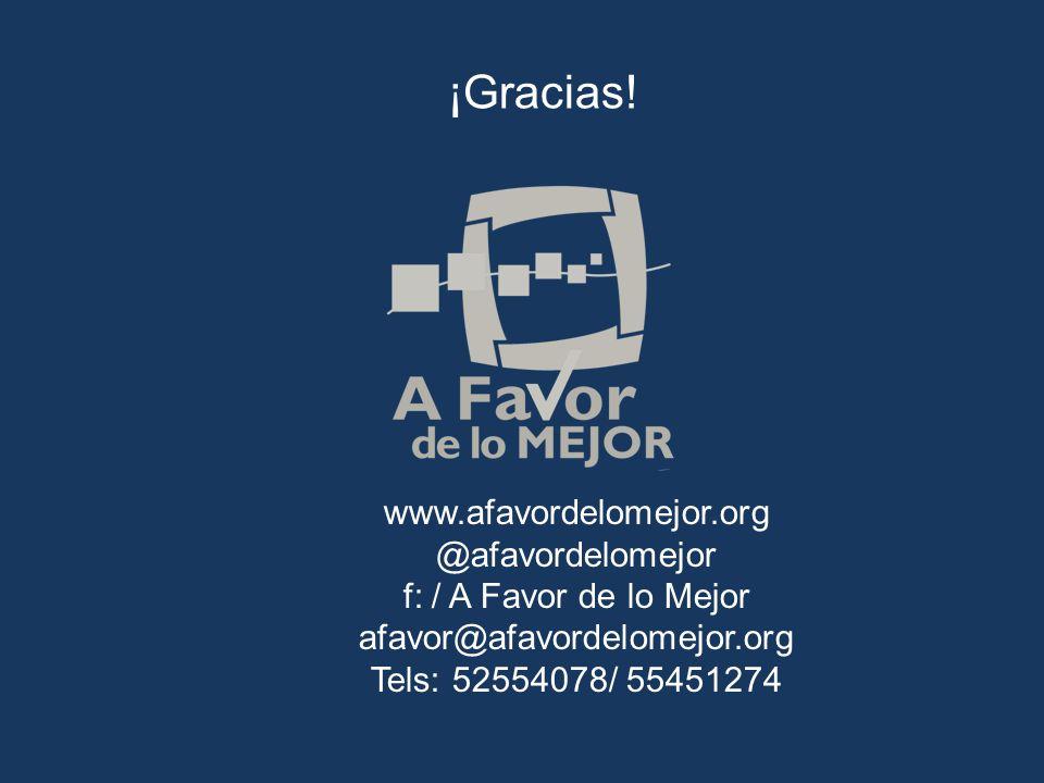 ¡Gracias! www.afavordelomejor.org @afavordelomejor