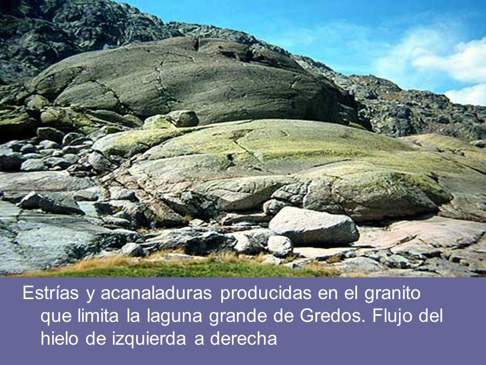 Estrías y acanaladuras producidas en el granito que limita la laguna grande de Gredos.