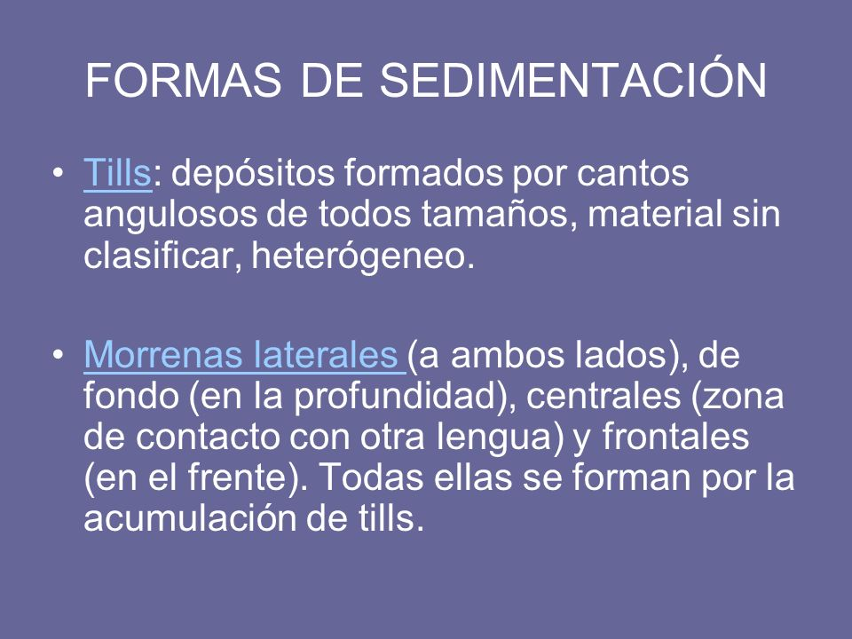 FORMAS DE SEDIMENTACIÓN