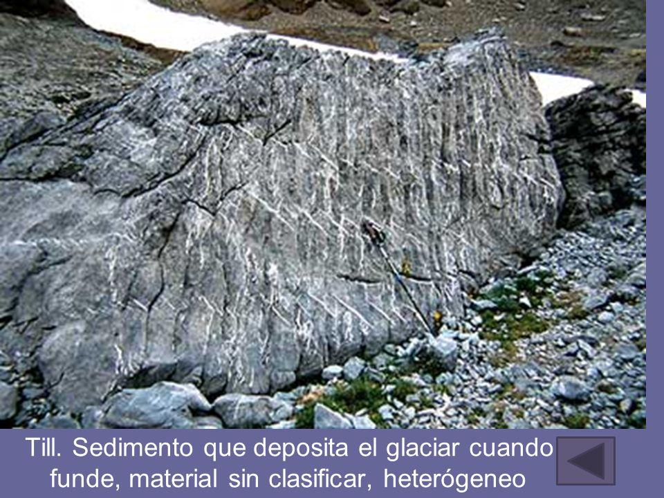 Till. Sedimento que deposita el glaciar cuando se funde, material sin clasificar, heterógeneo