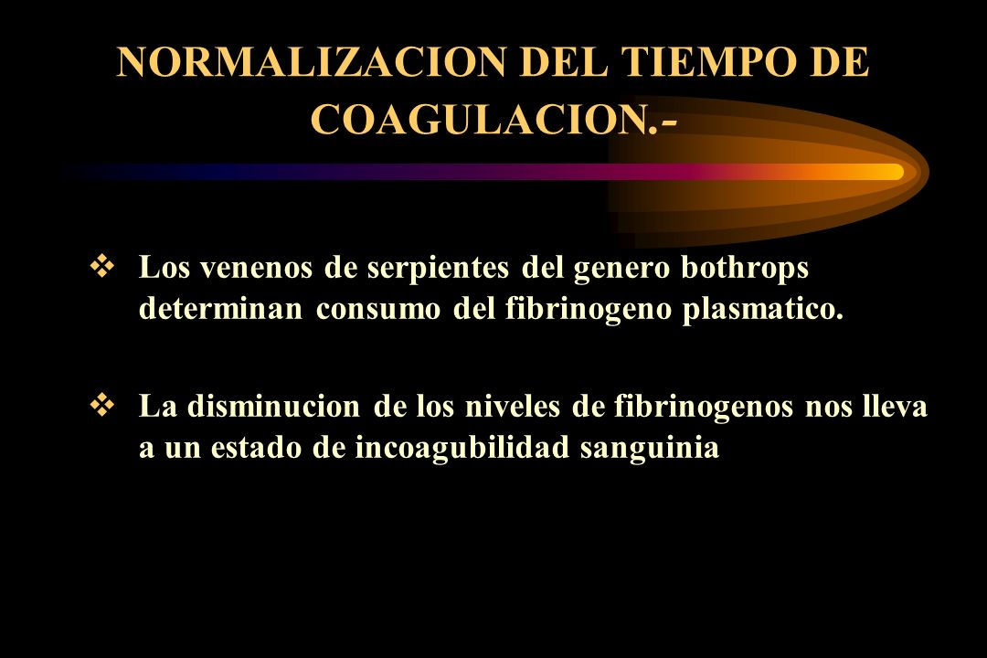 NORMALIZACION DEL TIEMPO DE COAGULACION.-