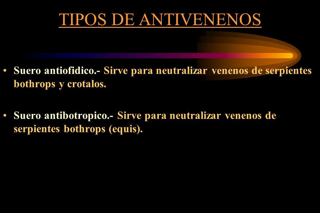 TIPOS DE ANTIVENENOS Suero antiofidico.- Sirve para neutralizar venenos de serpientes bothrops y crotalos.