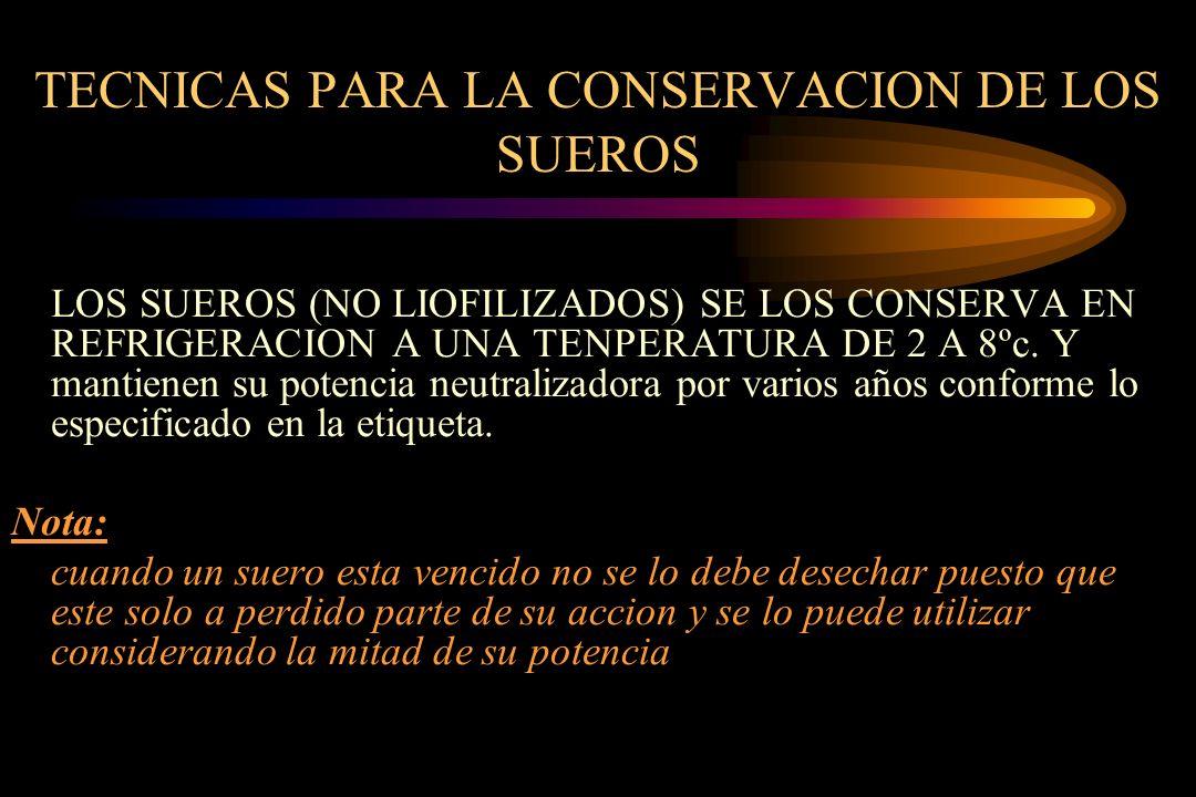 TECNICAS PARA LA CONSERVACION DE LOS SUEROS