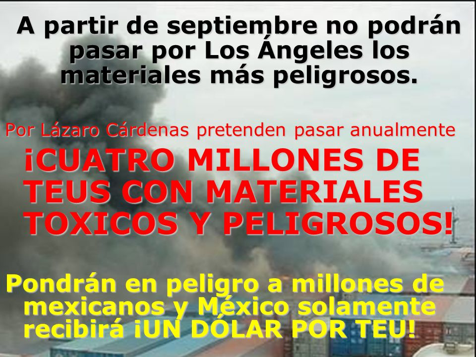 ¡CUATRO MILLONES DE TEUS CON MATERIALES TOXICOS Y PELIGROSOS!