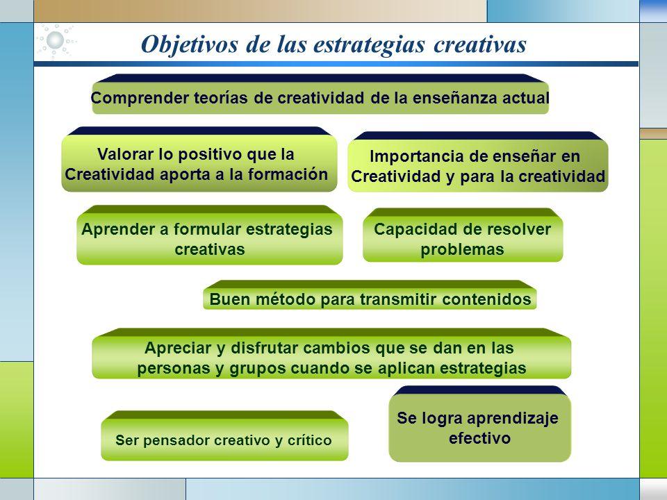 Objetivos de las estrategias creativas