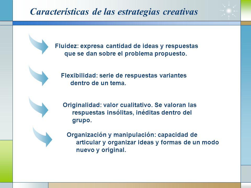 Características de las estrategias creativas