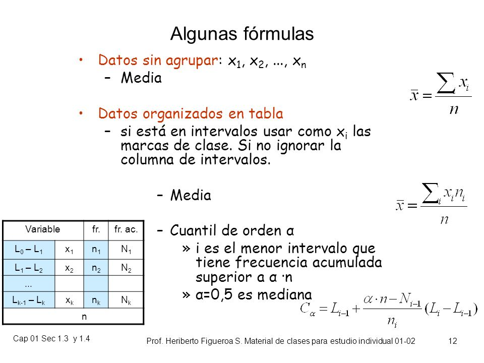 Algunas fórmulas Datos sin agrupar: x1, x2, ..., xn Media
