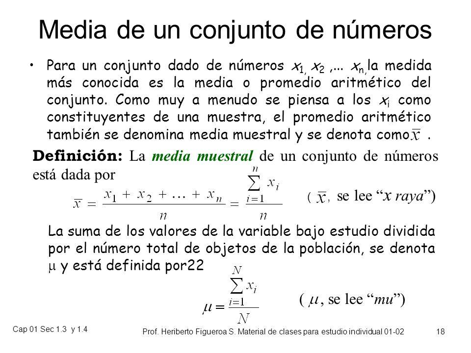 Media de un conjunto de números