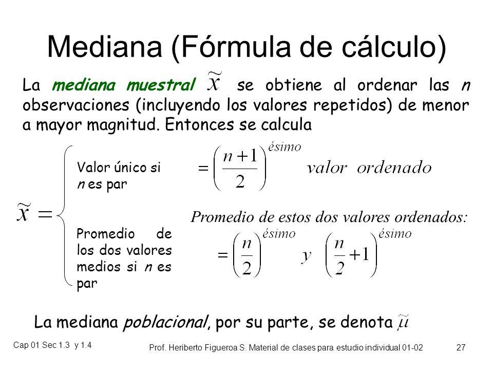Mediana (Fórmula de cálculo)