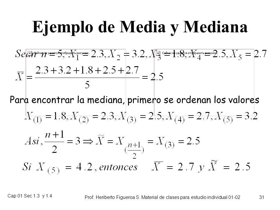 Ejemplo de Media y Mediana