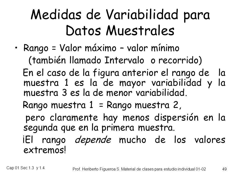 Medidas de Variabilidad para Datos Muestrales