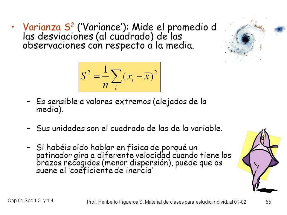 Varianza S2 ('Variance'): Mide el promedio de las desviaciones (al cuadrado) de las observaciones con respecto a la media.