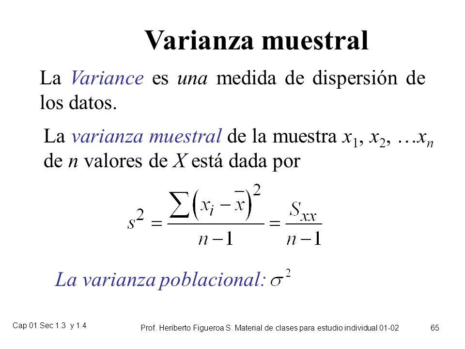Varianza muestral La Variance es una medida de dispersión de los datos.