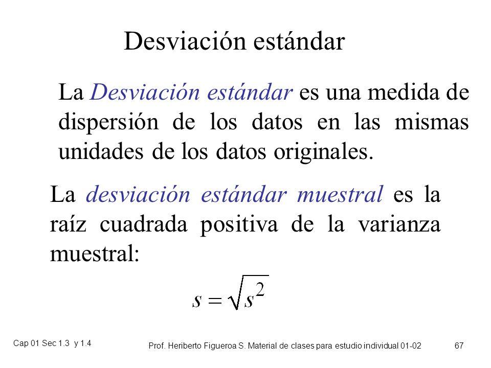Desviación estándar La Desviación estándar es una medida de dispersión de los datos en las mismas unidades de los datos originales.