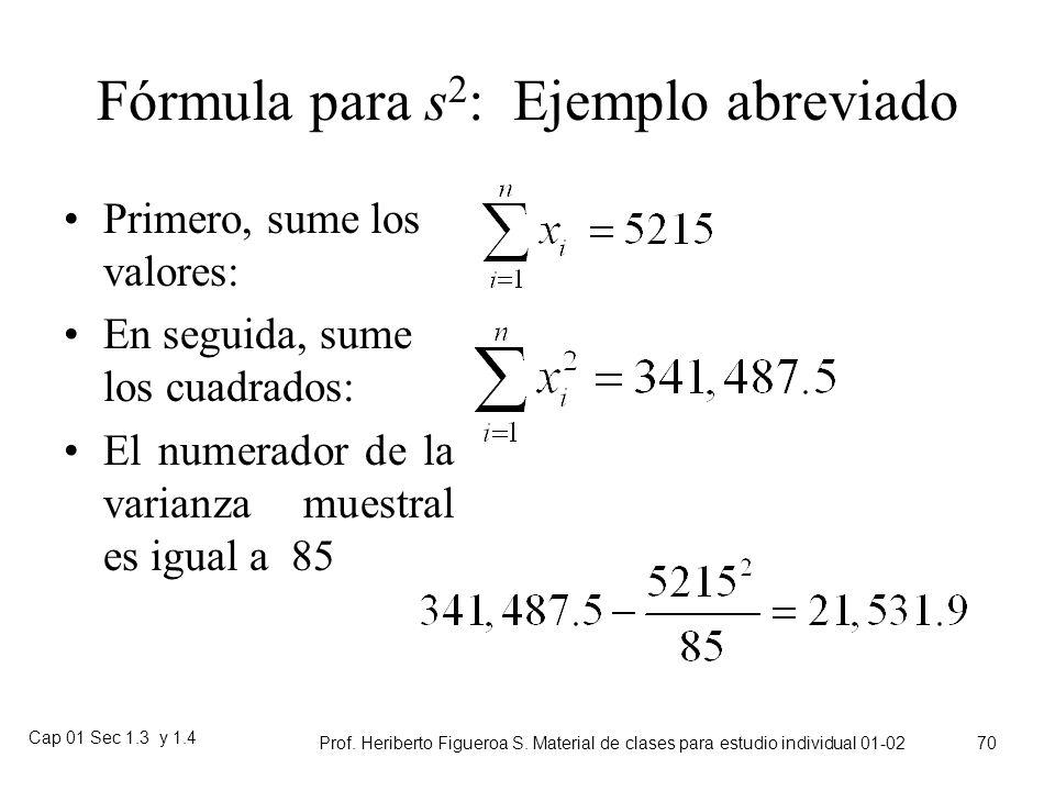 Fórmula para s2: Ejemplo abreviado