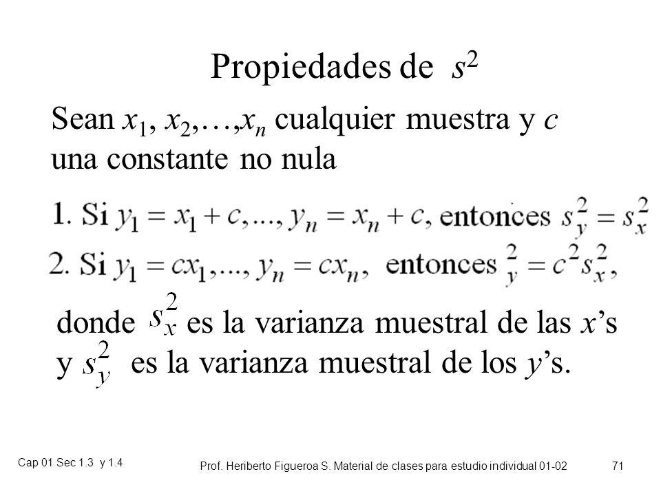 Propiedades de s2 Sean x1, x2,…,xn cualquier muestra y c una constante no nula.