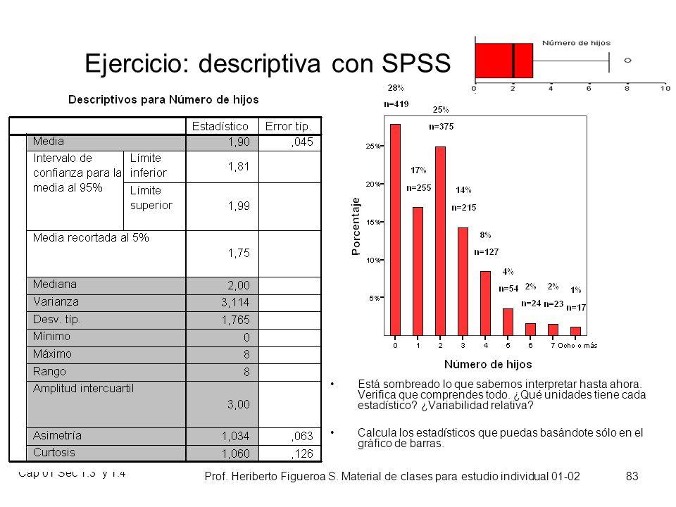 Ejercicio: descriptiva con SPSS