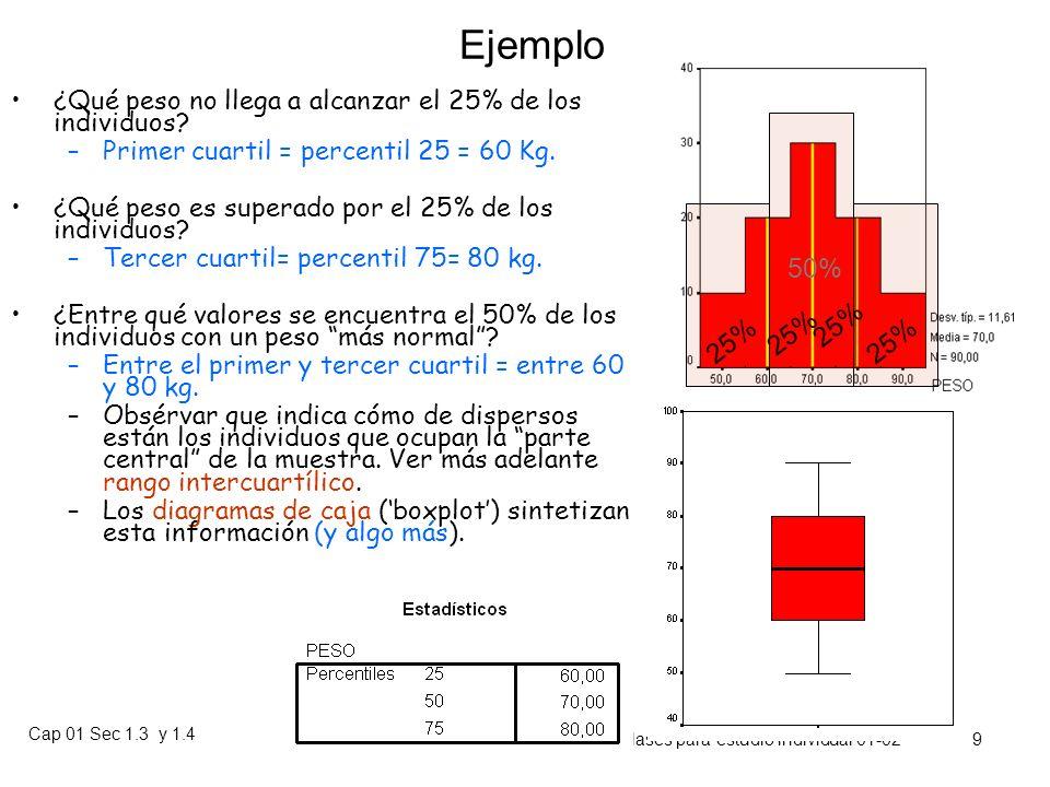 Ejemplo ¿Qué peso no llega a alcanzar el 25% de los individuos Primer cuartil = percentil 25 = 60 Kg.