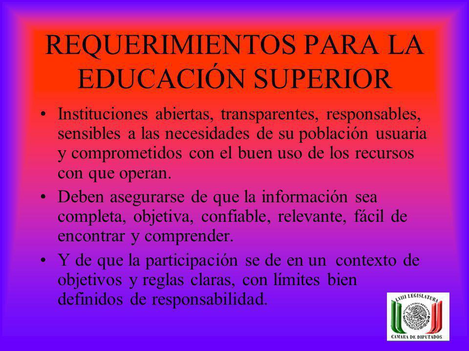 REQUERIMIENTOS PARA LA EDUCACIÓN SUPERIOR