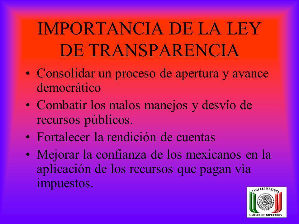 IMPORTANCIA DE LA LEY DE TRANSPARENCIA