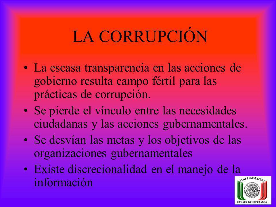 LA CORRUPCIÓN La escasa transparencia en las acciones de gobierno resulta campo fértil para las prácticas de corrupción.