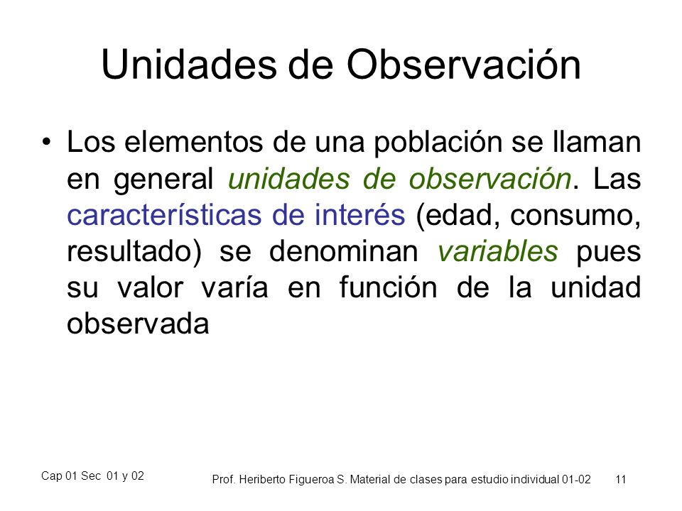 Unidades de Observación