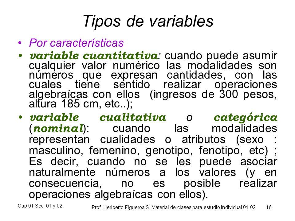 Tipos de variables Por características